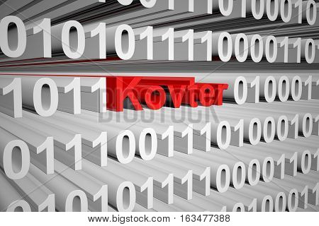 Kovter in the form of binary code, 3D illustration
