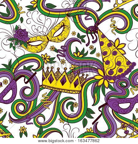 Mardi Gras seamless pattern. Colorful background with carnival mask and hats crowns ribbons and flowers. Vector illustration