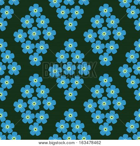 seamless pattern with forget-me-in the form of rhombus on dark green background