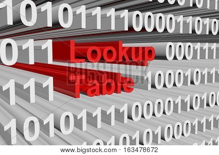 lookup table in the form of binary code, 3D illustration