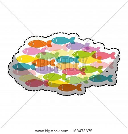 fish shoal icon over white background. colorful design. vector illustration