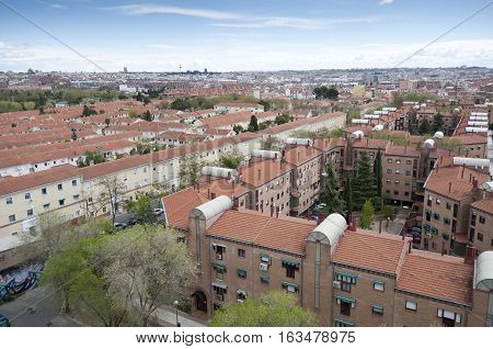 Views of Madrid City from Carabanchel district. It is in the south western suburbs of Madrid.