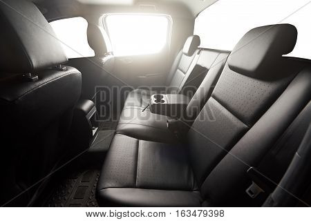 Pickup back leather seat interior with handle isolated windows