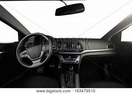 Modern car dark clean dashboard with isolated windows