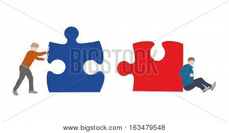 two people pushing puzzle pieces to assemble. teamwork. vector illustration.