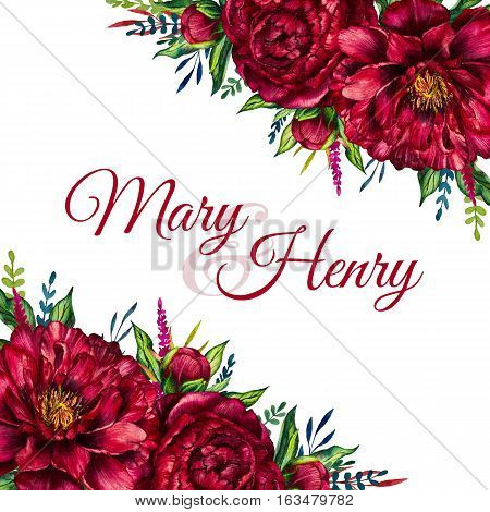 Watercolor greeting card with peony, floral invitation, flower card, flower peony. Flower background. Design for mothers day, womens day, wedding, save the date, card, holiday, summer design