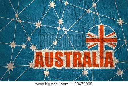 Australia flag design concept. Image relative to travel and politic themes. Molecule And Communication Background. Grunge texture. Connected lines with stars. Australia text