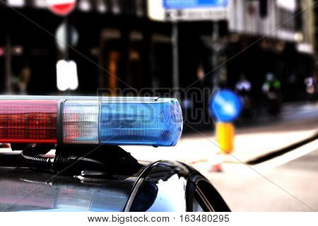 Red And Blue Flashing Lights Of The Police Car In The Checkpoint