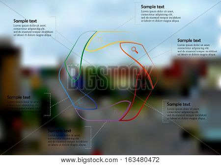 Illustration infographic template with motif of hexagon regularly divided to six color contour sections. Blurred photo with crossroad motif is used as background with streets in the town.