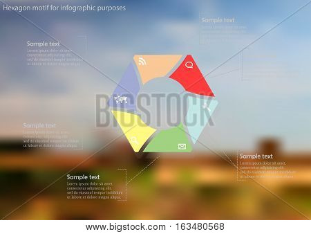 Illustration infographic template with motif of hexagon consists of six color parts. Blurred photo with natural motif is used as background with field with grass and cloudy sky.