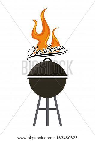 barbecue grill icon over white background. delicious barbecue concept. colorful design. vector illustration