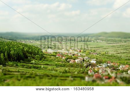 Rural countryside landscape. Small village in Poland called