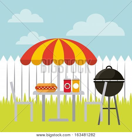barbecue grill and parasol with table with hot dog and sauces icon. delicious barbecue concept. colorful design. vector illustration