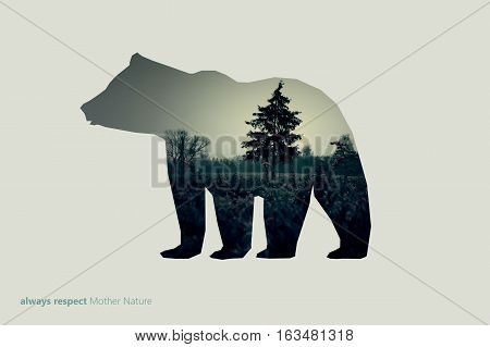 Creative photo poster with double exposure with line icon of bear and text