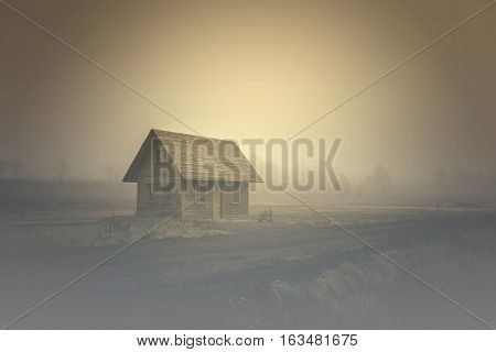 The old spooky house on the land of nowhere. Wooden house in the middle of the barren land. Scenic retro landscape