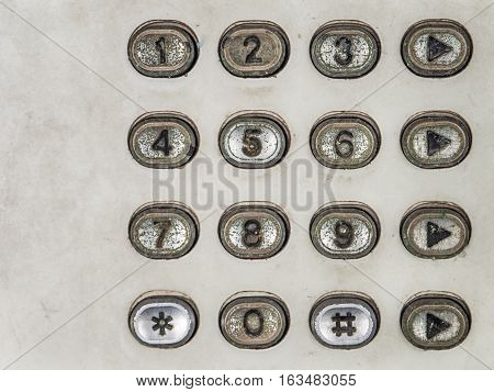 Old button number public telephone, with place for your text