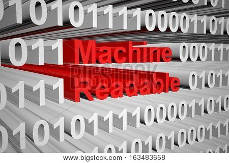 machine readable in the form of binary code, 3D illustration