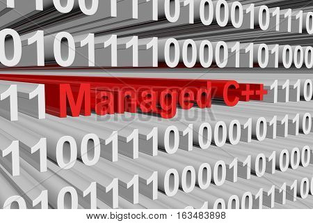 Managed C++ is represented as a binary code 3d illustration