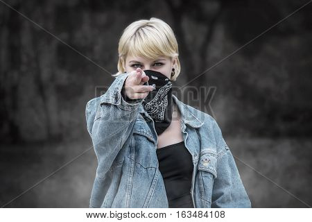 Agressive Portrait Of A Sexy Woman In Shooting Position