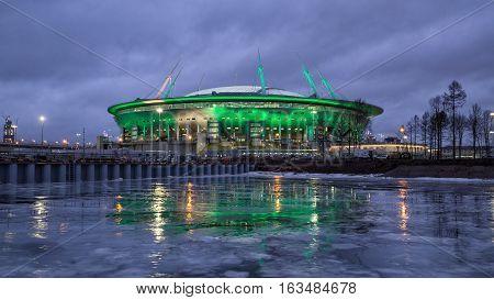 SAINT PETERSBURG RUSSIA - DECEMBER 25 2016: New stadium football club