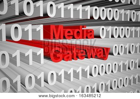 Media Gateway in the form of binary code, 3D illustration