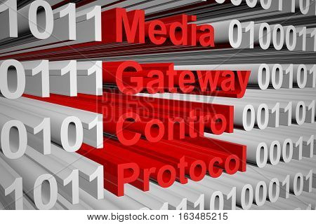 Media Gateway Control Protocol in the form of binary code, 3D illustration