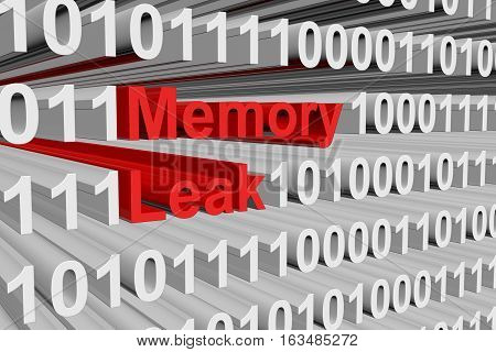 memory leak in the form of binary code, 3D illustration