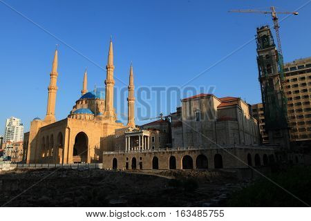 St George Church next to the Hariri Mosque in Beirut