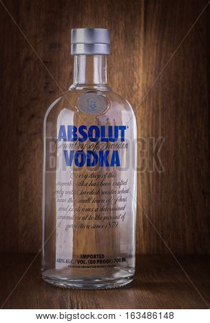 Chisinau Moldova March 08 2016: Absolut Vodka is a brand of vodka produced near Ahus in Sweden. Owned by French group Pernod Ricard