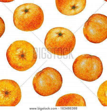 Seamless pattern watercolor orange tangerine, Seamless background of watercolor fruit mandarin