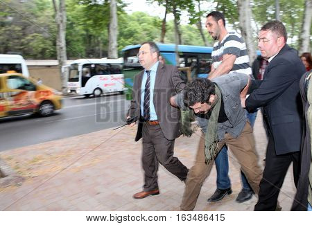 ISTANBUL, TURKEY-MAY 9: Turkish Police dispersed student protesters who protest Turkish Prime Minsiter Recep Tayyip Erdogan on May 9, 2013 in Istanbul, Turkey.
