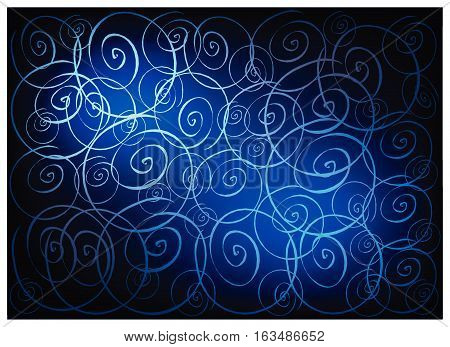 Illustration of Beautiful Blue Vintage Texture Background with Spiral Pattern for Add Content or Picture.