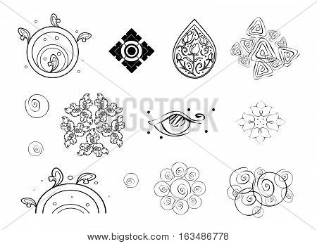 Illustration Set of Beautiful Black and White Abstract Flowers Vintage Pattern..