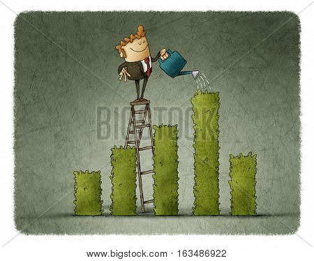 Business man Watering a plant shaped like a bargraph