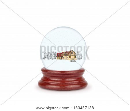 snow globe with a Christmas composition. illustration.