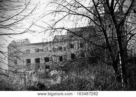 The old dilapidated brewery. Unmaintained building in an overgrown park.