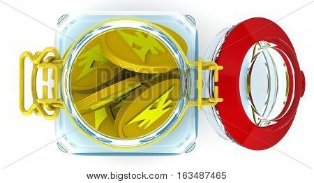 Piggy bank with coins of the Japanese Yen. Glass Jar for canning with a coins of the Japanese Yen on a white surface. Financial concept. Isolated. 3D Illustration