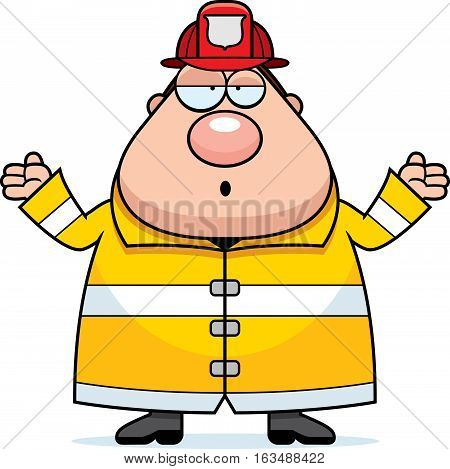 Cartoon Fireman Confused