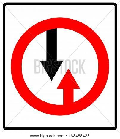 Give way to oncoming traffic sign. Vector road symbol in red circle isolated on white. Vector illustration