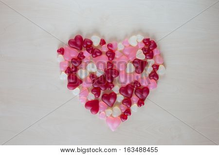 Assorted heart shaped jelly candy in form heart