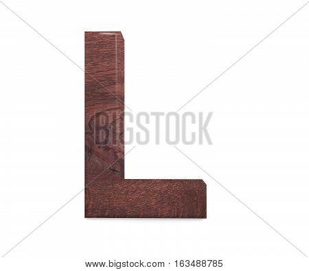 3D Decorative Brown Polished Wooden Alphabet, Capital Letter L