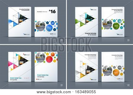 Business vector. Brochure template layout, cover design annual report, magazine, flyer in A4 with rounds, triangles, polygons for PR, business, tech. Abstract art with overlay effect.