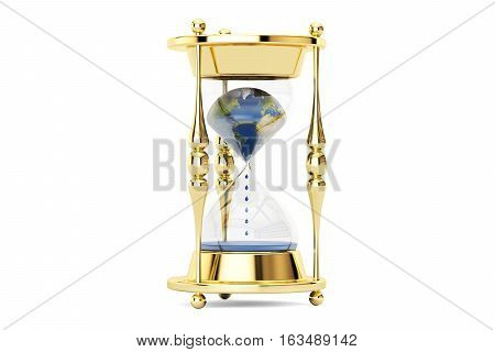 Earth in hourglass ecological concept. 3D rendering isolated on white background
