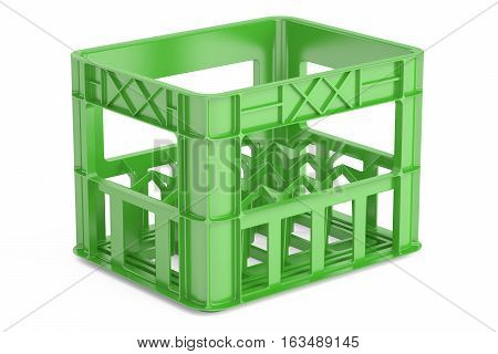 empty green plastic crate for bottles. 3D rendering isolated on white background
