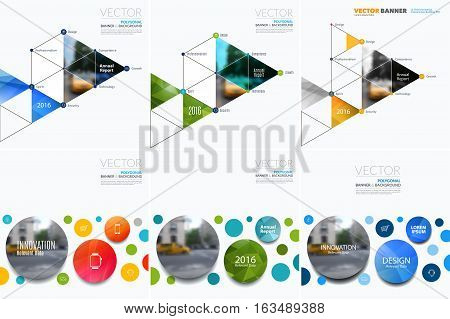Business vector design elements for graphic layout. Modern abstract background template with rounds, triangles, polygons for PR, business, tech in clean minimal style with overlay effect.