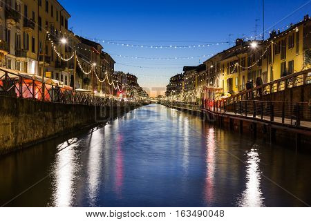 Milan Canal Naviglio Decorated For Christmas Winter 2016 Destination Travel Italy River Water Aftern