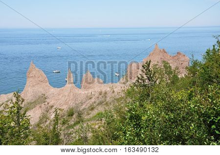 Chimney Bluffs State Park on Lake Ontario near Great Sodus Bay, New York State, USA.