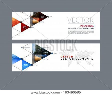 Vector set of modern horizontal website banners with circles, triangles, polygons for PR, business, tech, communication. Clean web headers design with overlay effect.