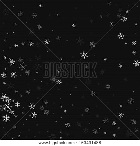 Sparse Snowfall. Abstract Pattern On Black Background. Vector Illustration.