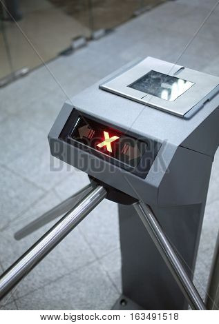 Access denied. Electronic access control system vertical view closeup